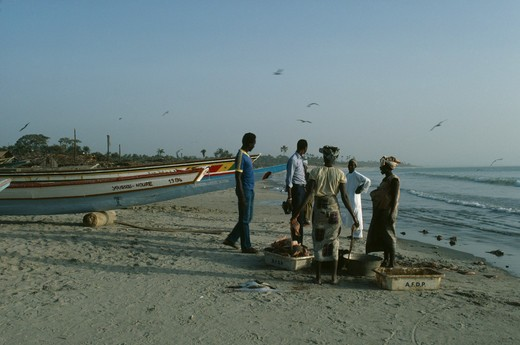 Gambia, Gunjar, People Buying Freshly Caught Fish On The Beach : Stock Photo