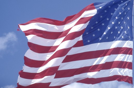 Stock Photo: 1850-9103 Flags, Usa, Close Up Of The Stars And Stripes Flag Against A Blue Sky