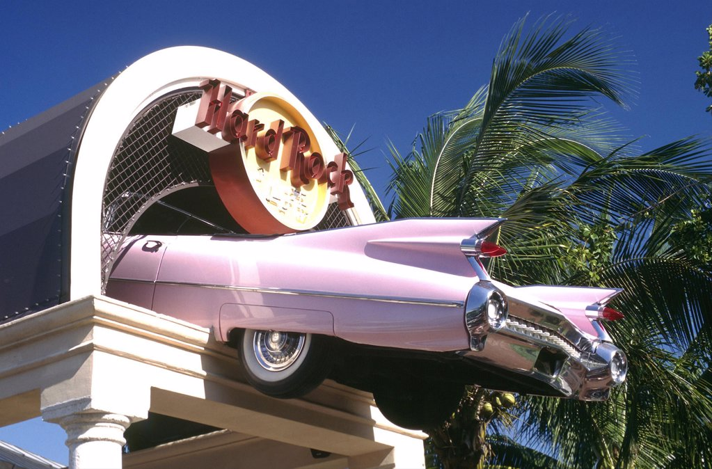 Usa, Florida, Miami, Hard Rock Cafe Sign With Pink Cadillac Feature : Stock Photo