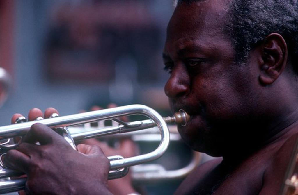 Cuba, Havana, Close Up Of A Trumpet Player : Stock Photo
