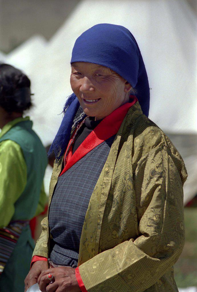 India, Ladakh, Portrait Of Female Pilgrim At The 14Th Dalai Lamas Birthday Celebrations : Stock Photo