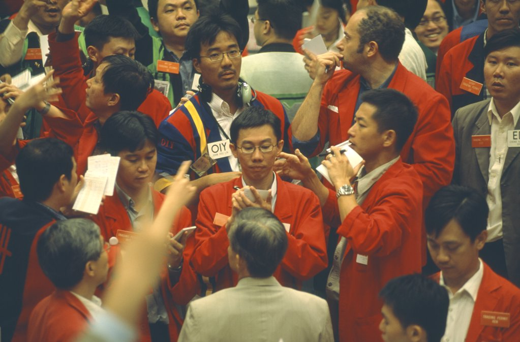 Stock Photo: 1850-9525 Singapore, Financial District, Raffles Place, Busy Derivatives Trading Floor Of The Singapore Stock Exchange. Sgx