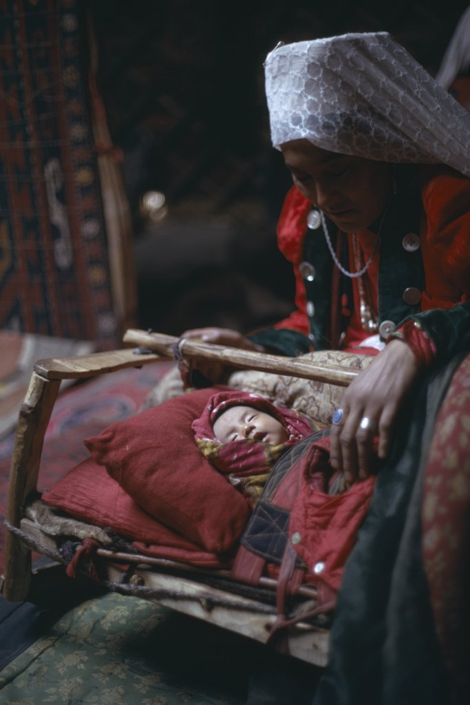 Afghanistan, People, Kirghiz Woman With Baby Inside Yurt. : Stock Photo