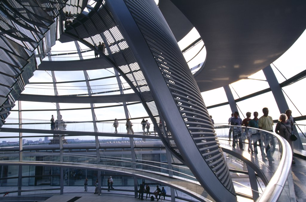 Germany, Berlin, Interior Detail Of The Reichstag Dome : Stock Photo