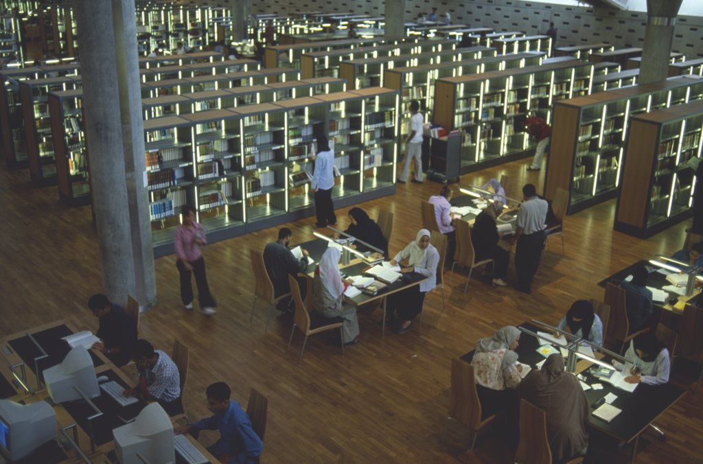 Egypt, Nile Delta, Alexandria, Interior View Over The Reading Area Of The Library Which Has Been Resurrected On The Site Of The Bibliotheca Alexandrina : Stock Photo