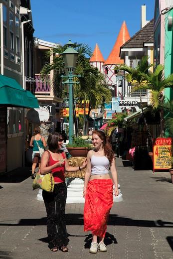 Stock Photo: 1851-4391 Market street and shops at Philipsburg in St. Maarten, Dutch Caribbean