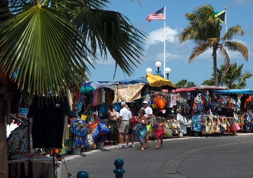 Colourful Market stalls in St.Martin, French Caribbean : Stock Photo