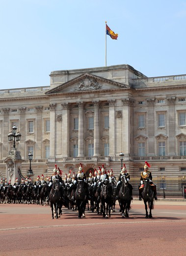 Stock Photo: 1851-4509 Royal Life Guards at Buckingham Palace