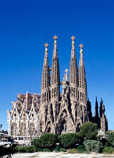 The Sagrada Familia at Barcelona in Spain. (note: no cranes!) : Stock Photo
