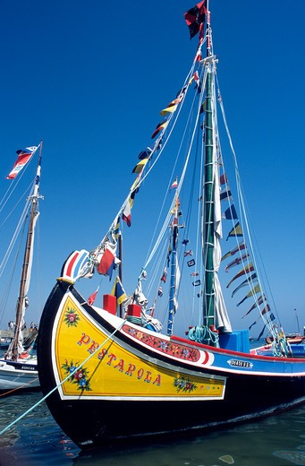 Decorated fishing boats at Cascais Portugal : Stock Photo