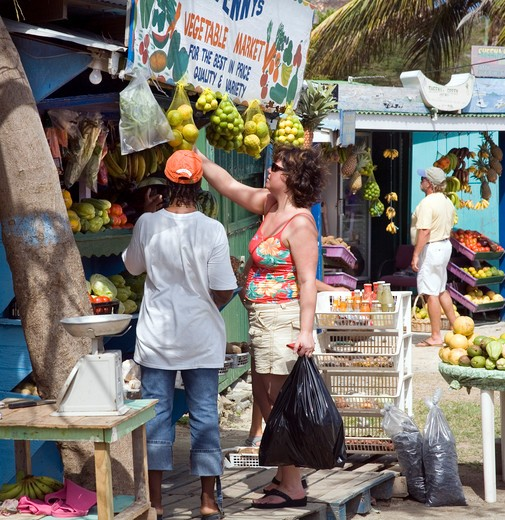 Stock Photo: 1851-5508 Colourful Fruit Shop at Union Island in the Caribbean