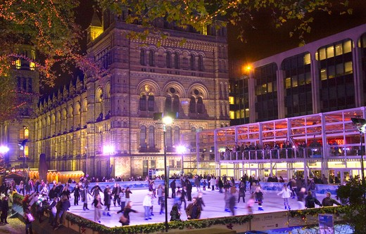 The Xmas Ice Rink at the Natural History Museum London : Stock Photo