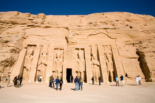 Stock Photo: 1851-6132 The Archaeological site of the Temple of Hathor at Abu Simbel