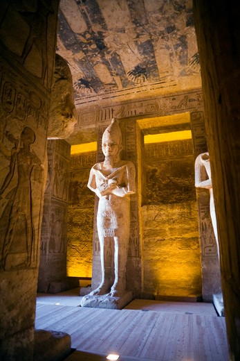 The interior hall of the Temple of Ramesses II at Abu Simbel : Stock Photo