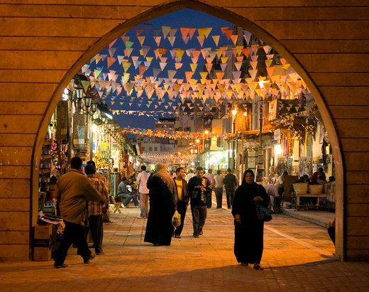 The colourful souk market at night in Aswan Egypt : Stock Photo