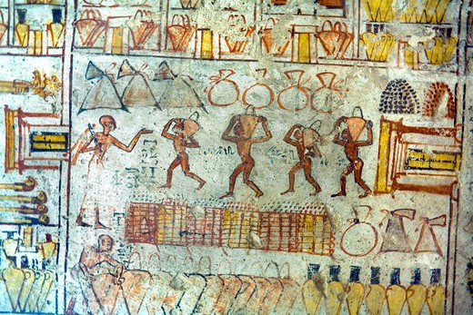 Original Painting on the wall of the interior of the tomb of Nefer Ronpet at the Tombs of the Nobles. West bank Luxor Egypt. : Stock Photo