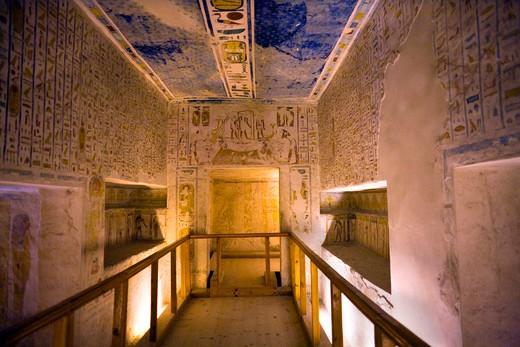 Stock Photo: 1851-6224 Interior of Ramses fourth tomb at Valley of the Kings Luxor