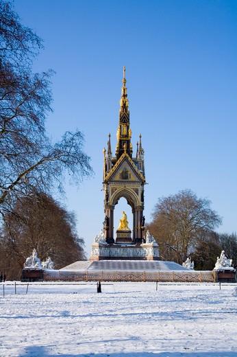 Albert Memorial in Winter London : Stock Photo