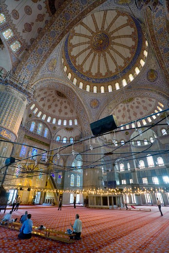 The interior of the Blue Mosque Sultan Ahmet Camii Istanbul : Stock Photo