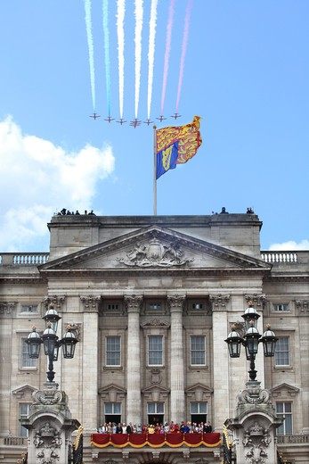 Queen Elizabeth II and Duke of Edinburgh  and Royal Family watch Fly Past from the Balcony of Buckingham Palace  at the Trooping of the Colour Ceremony  June 2012 : Stock Photo