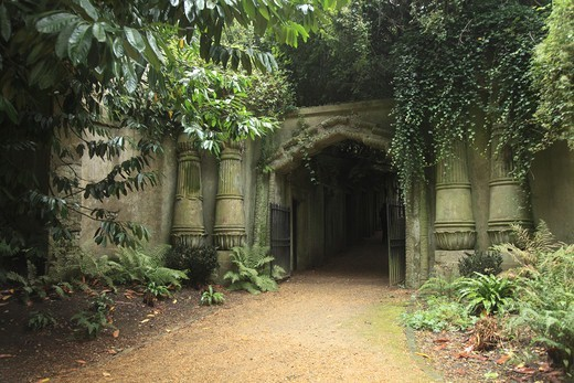 Stock Photo: 1851-7386 Egyptian Gate at the Highgate Cemetery West in London England