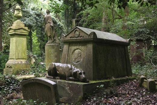 The Tomb of  Thomas Sayers a famous boxing fighter at Highgate West Cemetery in London England : Stock Photo