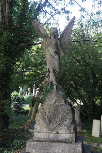 The Highgate East Cemetery in London England : Stock Photo