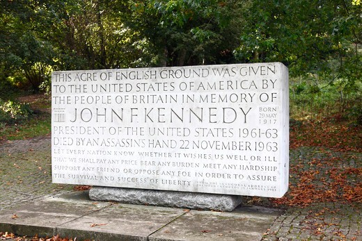 Stock Photo: 1851-7433 John F Kennedy Memorial stone at Runnymede  England.