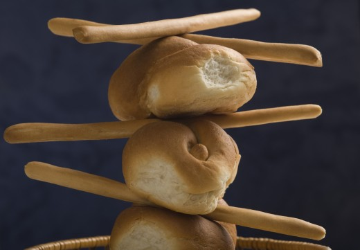 Close-up of buns with bread sticks : Stock Photo