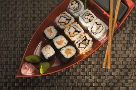 Close-up of various sushi in a plate : Stock Photo