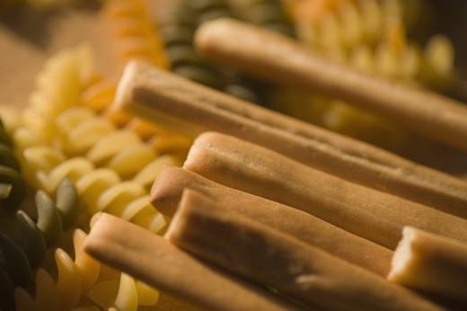 Close-up of breadsticks with pasta : Stock Photo