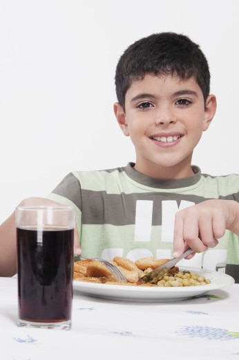 Portrait of a boy having lunch : Stock Photo