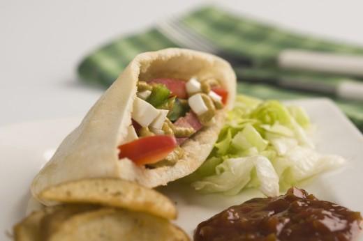 Close-up of a stuffed pita sandwich : Stock Photo