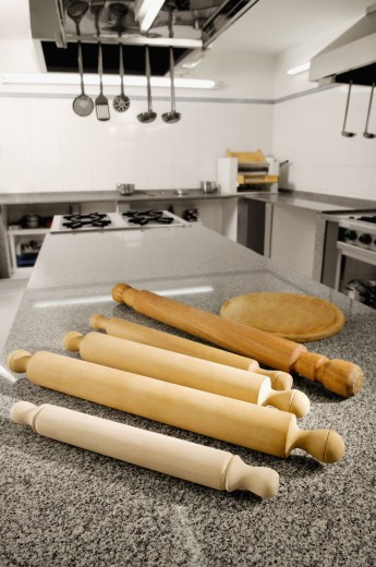 Rolling pins on the kitchen counter : Stock Photo