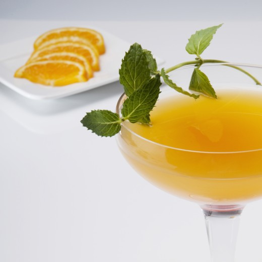 Stock Photo: 1884-64458 Close-up of a glass of orange juice with orange slices