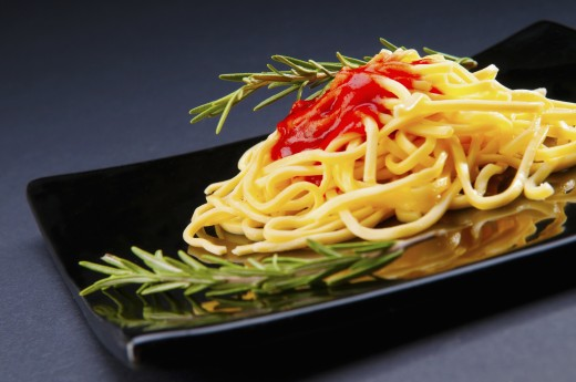 Stock Photo: 1884-65615 Close-up of spaghetti pasta with tomato sauce
