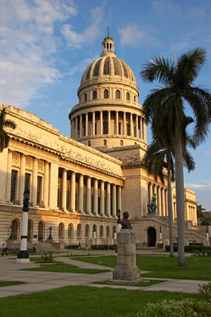 Stock Photo: 1885-10495 Caribbean, Cuba, Havana, The Capitol Building in Parque Central  in warm sun