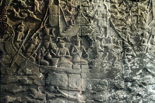 Stock Photo: 1885-10668 Cambodia, , Siem Reap - near, Bas-relief at Angkor Wat tenple