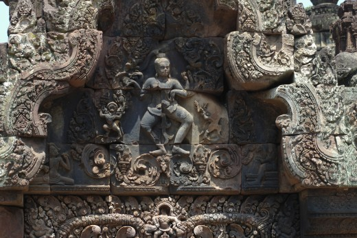 Cambodia, , Siem Reap - near, Angkor Wat - Bas-relief at Banteay Srei Temple : Stock Photo