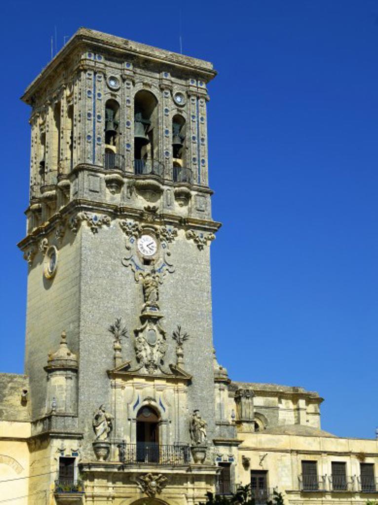 Spain, Andalucia, Arcos de la Frontera, The Basilica-Parroquia de Santa Maria : Stock Photo