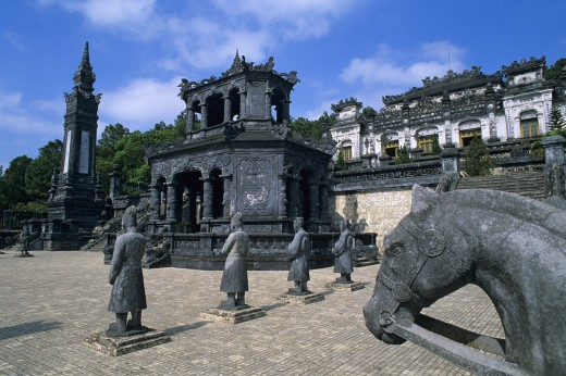 Vietnam, , Hue - near, The Court of Honour with Tomb of Khai Dinh and Emperors Mausoleum : Stock Photo