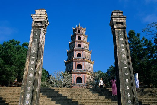 Stock Photo: 1885-11454 Vietnam, , Hue , Thien Mu Pagoda - 7-storey Buddhist pagoda