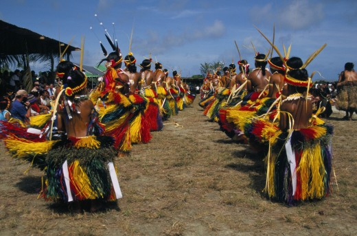 Micronesia, Yap State, Yap, Traditional dancers : Stock Photo