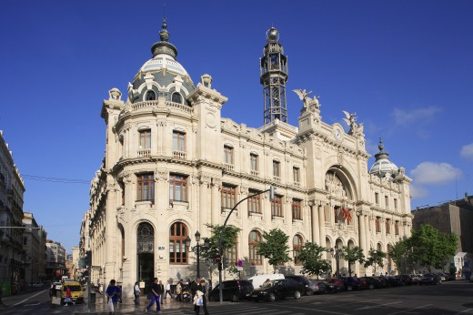 Stock Photo: 1885-11983 Spain, Valencia Region, Valencia, Plaza Ayuntamiento - Post and Telegraph Office