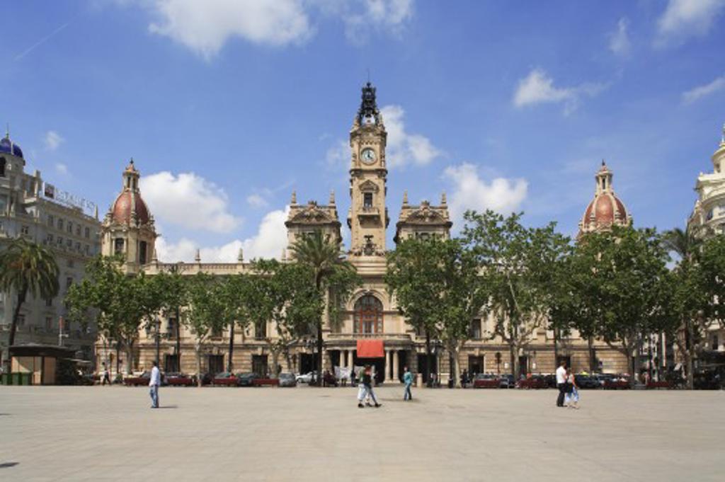 Spain, Valencia Region, Valencia, Plaza Ayuntamiento - the town hall : Stock Photo