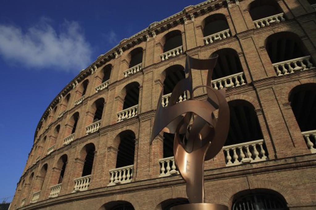 Spain, Valencia Region, Valencia, Plaza de Toros - exterior of bullring with sculpture : Stock Photo