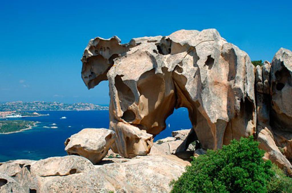 Stock Photo: 1885-12103 Italy, Sardinia, Capo d'Orso, Bear Rock with view over sea to La Maddalena