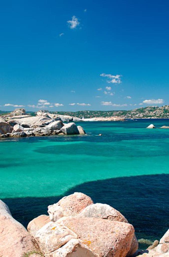Italy, Sardinia, La Maddalena, View of bay : Stock Photo