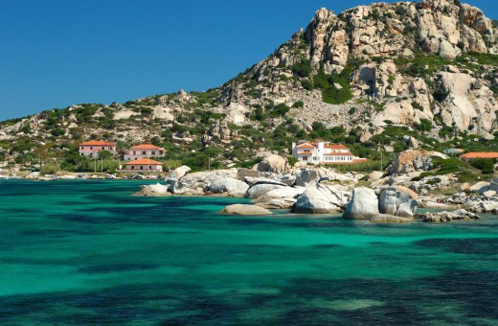 Italy, Sardinia, La Maddalena, View of rocky beach : Stock Photo