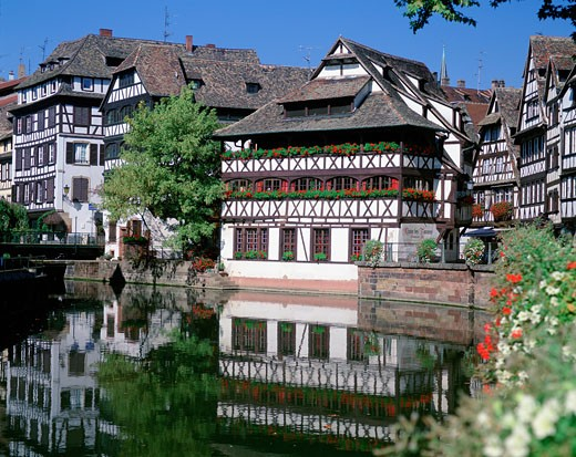 France, Alsace, Strasbourg, La Petite France - Tanners Quarter and River Ill : Stock Photo